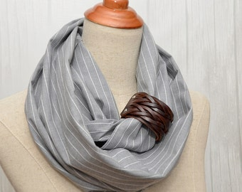 Grey Striped Cotton Infinity Scarf, Chunky Scarf, Natural Cotton Scarf, Brown leather cuff.