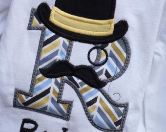 Inital Boys Top Hat and Mustache Tee