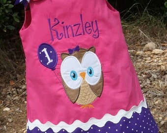 Personalized Owl Hot Pink with PurplebPolka Dots Aline Dress