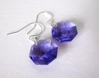 Amethyst Purple Drop Earrings Swarovski Dangle Earrings  Handmade Jewelry Clip or Pierced
