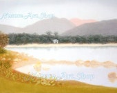 Original Pastel Drawing: Landscape drawing of country park view