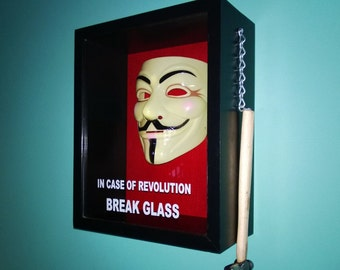 In Case Of Revolution Break Glass Shadow Box, with Anonymous, V for Vendetta mask, Guy Fawkes, Anon.