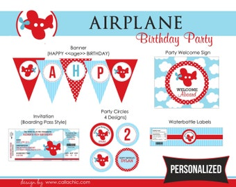 Airplane Birthday Party Package PRINTABLE - DIY Personalized for Boys - Plane Aeroplane - Blue Red
