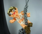 Handmade Miley Wrecking Ball Figure using the Rainbow Loom, can be used as a keychain, backpack zipper pull, toy etc
