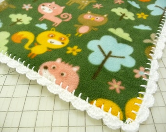Forest Animals Fleece Baby Blanket - Toddler Blanket - Ready to Ship
