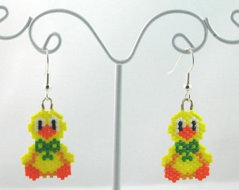 Beaded Spring Chick with Bow Earrings