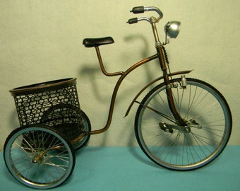 Miniature Traditional Bicycle Basket Antique
