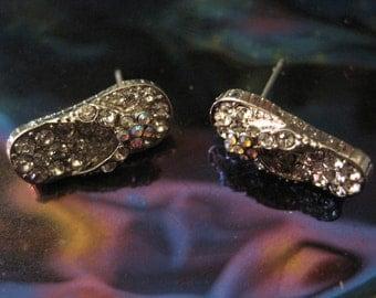Silver Flip Flop Earrings -  Rhinestone Silver Flip Flop Earrings - Beach Earrings - Beach Wedding - Nautical Jewelry