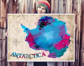 WATERCOLOR MAP - Antarctica Map Watercolor Painting. Watercolor poster. Handmade poster.