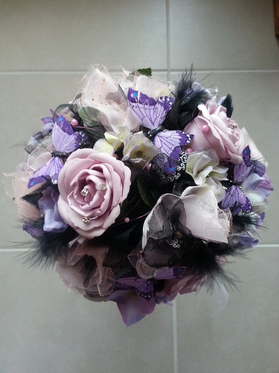 Wedding Bouquets With Feathers And Crystals : Wedding bouquet silk vintage with feathers pearls and crystals