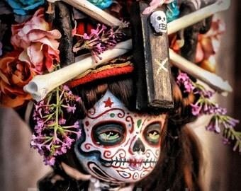 Beautiful Mortal Dia De Los muertos Bone Death Princess Doll Canon PRINT 356 by Michael Brown