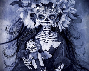 Beautiful Mortal Dia de Los Muertos Goth Blue Doll Doll PRINT 550 by Michael Brown