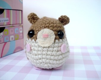 Cute Amigurumi Crochet Plush Hamster Doll