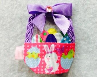 Easter Basket Hair Bow...Easter Hair Bow...Easter Egg Basket