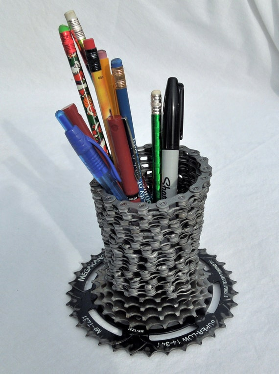 Recycled bicycle pen / pencil holder