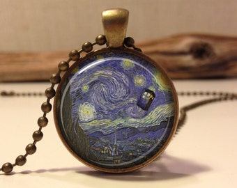 Doctor Who Necklace. Tardis Van Gogh Dr who art pendant jewelry.(Dr who #1)