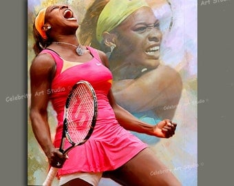 """Serena Williams Tennis Art W Canvas Giclee, Acrylic, Gallery Wrap Ready To Hang Up To Size 36X44X1.5"""""""