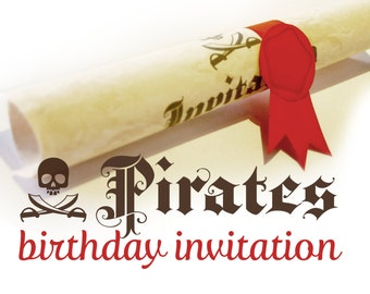 Pirate birthday invitation printable - Pirate themed party invite - papercraft party favors