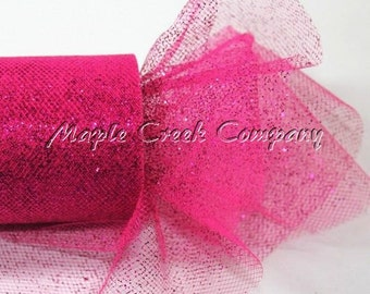 FUCHSIA Glitter Tulle Roll 6in x 30ft - Sparkling Tulle (10 yards)