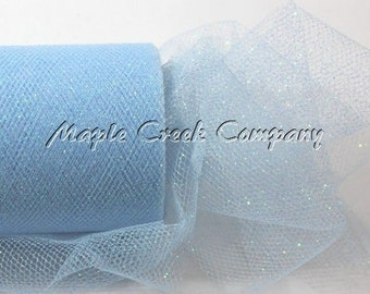 LIGHT BLUE Glitter Tulle Roll 6in x 30ft - Sparkling Tulle (10 yards)