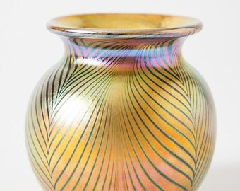 Steven Correia Original Hand-Blown Vase of Gold with Blue Pulled Feathers