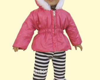 American Girl Doll Clothes Fur Trimmed Hot Pink Puffy Jacket+Zebra Leggings 1304N