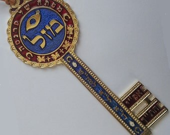 The key of wealth kabbalah amulet pewter wall hanging from Israel bless for money helps get rich !!