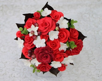 Red Roses and White Stephanotis Bouquet