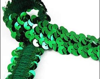 Emerald elastic sequin trim. 22mm. JR03265