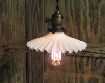 """Vintage Industrial Light - Pendant  Ceiling Light with 7 1/2"""" Rippled Petticoat Opalescent White Glass Shade"""