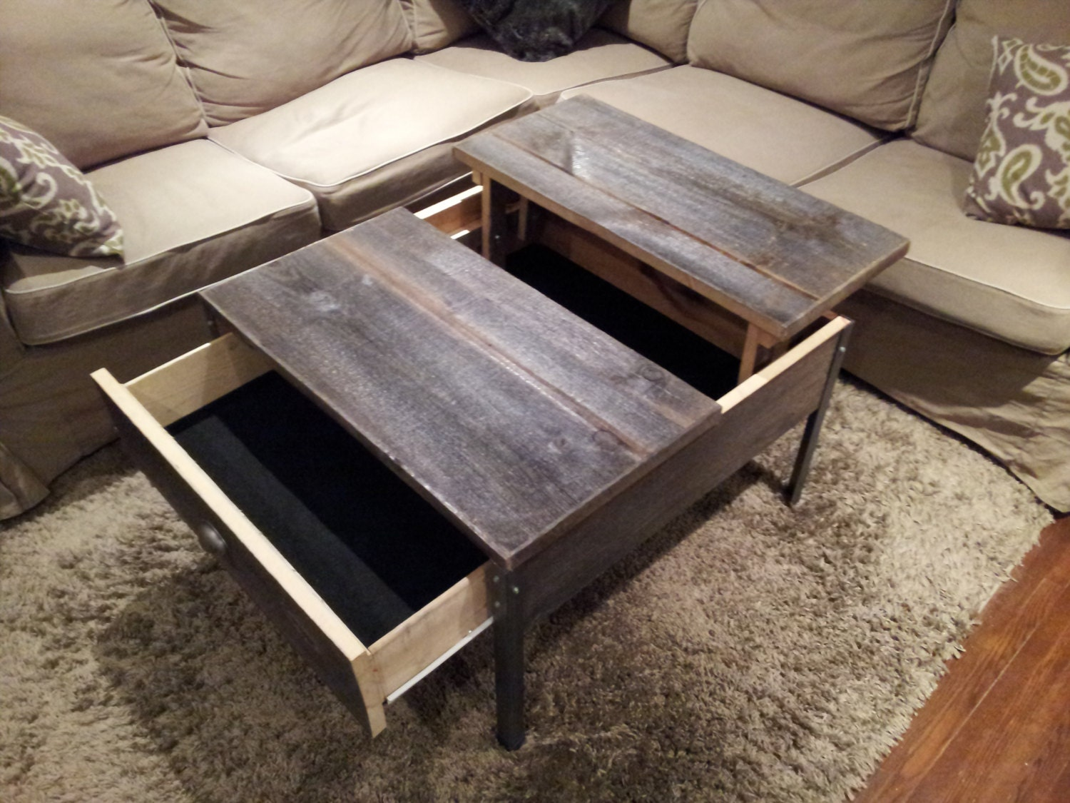 Square old barn wood pop up table with clear coat