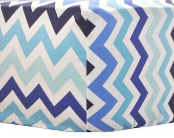 Navy Blue and Aqua Chevron Crib Sheet