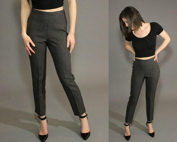 Grey High Waisted Cropped Capri Pants Retro Twiggy Mod