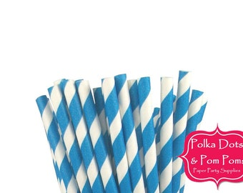 25 ROYAL BLUE Striped Paper Drinking Straws / Birthday Party Decoration Ideas and Supplies / Wedding