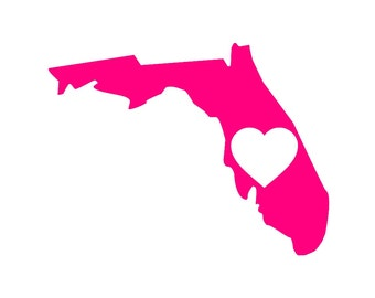 I Love Florida Custom Die Cut Vinyl Decal Sticker - Choose your Color and Size