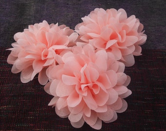 Peach Chiffon Flowers , 4 inch,use in DIY craft for baby,children accessories and others
