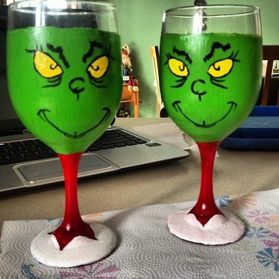 Items Similar To The Grinch Hand Painted Wine Glasses On Etsy