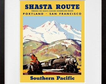 Train Art Print San Francisco Portland Vintage Travel Poster (TR86)