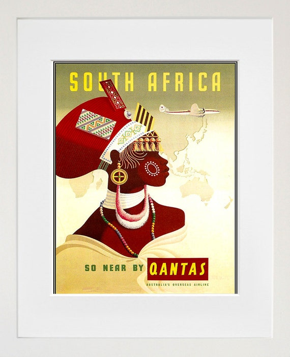 South Africa Travel Poster African Wall Art Print Home Decor
