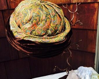Brown Velvet Hat, Paisley Hat, Pillbox or Costume