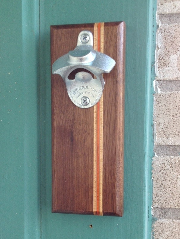 Wall mounted bottle opener w magnetic cap by boxcarhandmade - Bottle opener wall mount magnet ...