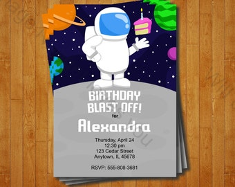 Astronaut Party Invitation - printable birthday invite for a Birthday Outer Space Party