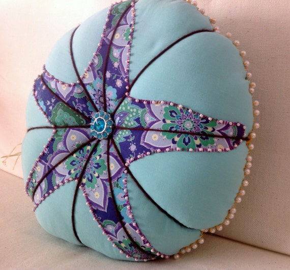 Pillow Round Throw Pillow Aqua with Purple by artteryandstitch