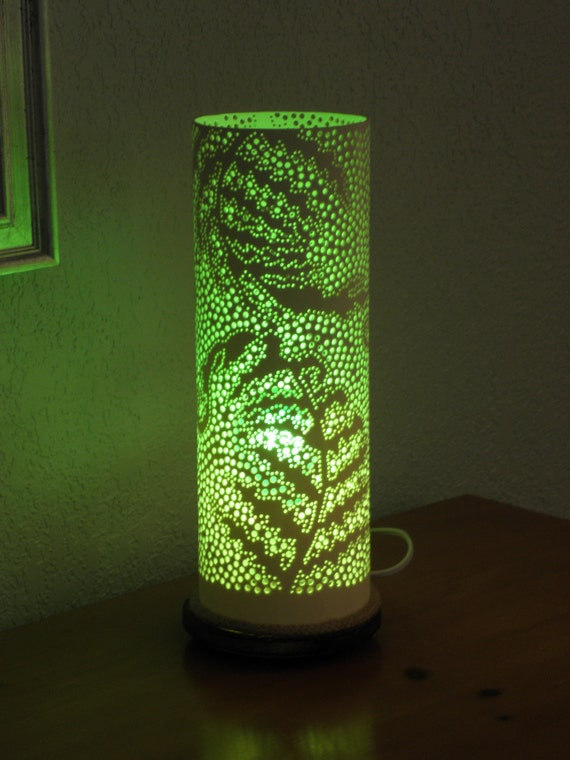Fern Design Table Lamp Handmade With Recycled Pvc Pipe