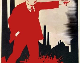 1924, Lenin Soviet Russian Revolution communist poster