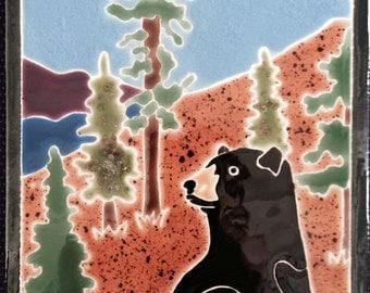 Black Bear in Mountains tile trivet