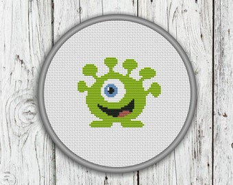 Little Green Monster Counted Cross Stitch Pattern - Green Alien Cross Stitch Pattern - PDF, Instant Download