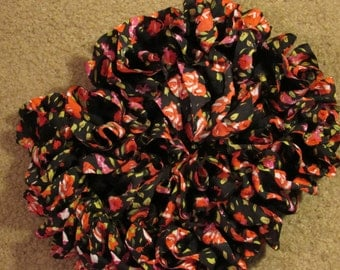 Ruffled Knit Fabric Scarf Red and White Roses on Black