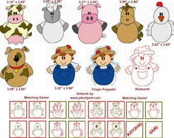 25 Roly Poly Farm Embroidery Design Files with Finger Puppets & Memory Matching Game