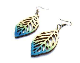 Dangle Earring - Wood Earrings - Leaf Earrings - Ombre Earrings - Wood Leaf Earrings